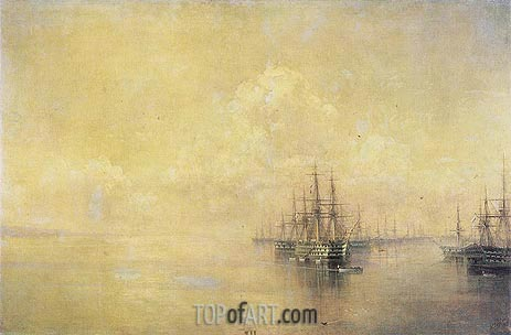 Squadron of the Black Sea Fleet Entering Sevastopo, 1895 | Aivazovsky | Painting Reproduction