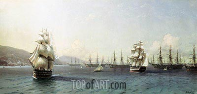 The Black Sea Fleet at Theodosia, 1890 | Aivazovsky| Painting Reproduction