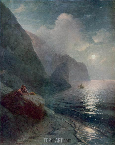 Pushkin by the Cliffs of Gurzuf in the Crimea, 1880 | Aivazovsky | Gemälde Reproduktion