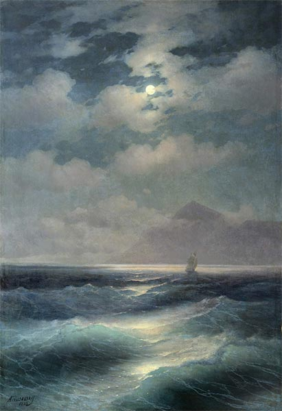 View of the Sea by Moonlight, 1878 | Aivazovsky | Gemälde Reproduktion