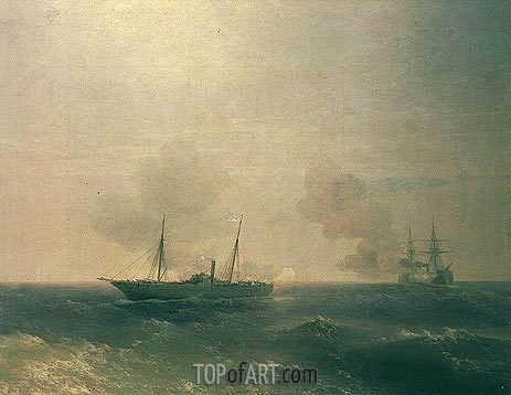 Aivazovsky | Action Between Vesta & Turkish Battleship in Sea, 1877