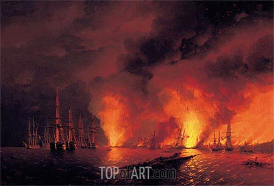 The Battle of Sinop, 18 November 1853 (The Night after the Battle), 1853 | Aivazovsky| Painting Reproduction