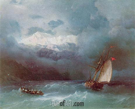 Stormy Sea, 1868 | Aivazovsky | Painting Reproduction