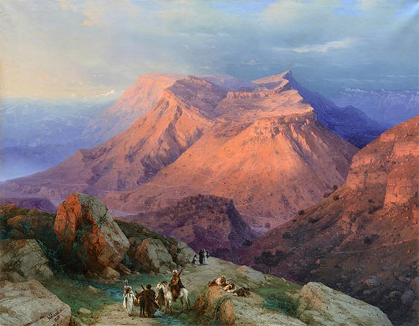 The Aul of Gunib in Dachestan, View from the East, 1869 | Aivazovsky | Gemälde Reproduktion