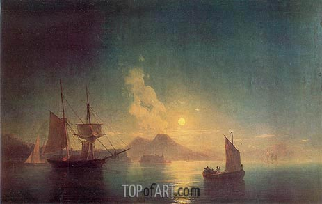 The Bay of Naples by Moonlight, 1850 | Aivazovsky | Gemälde Reproduktion