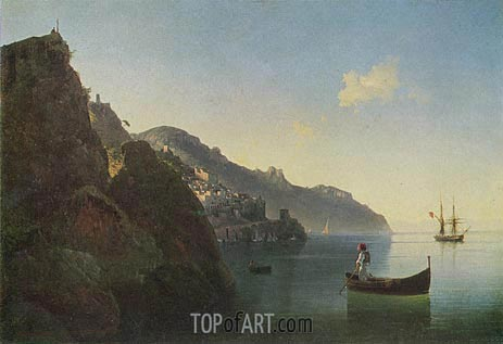 The Coast near Amalfi, 1841 | Aivazovsky | Gemälde Reproduktion