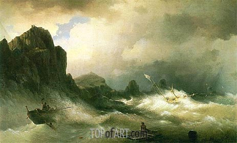 Shipwreck, 1843 | Aivazovsky | Painting Reproduction