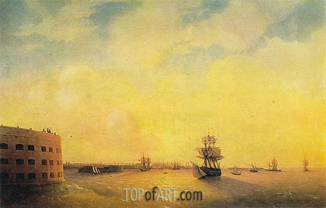 Kronstadt, the Menshikov Fort, 1844 | Aivazovsky | Painting Reproduction