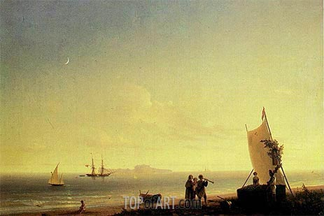View of Capri, 1845 | Aivazovsky | Painting Reproduction