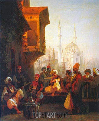 Coffee House by the Ortakoy Mosque in Constantinople, 1846 | Aivazovsky | Painting Reproduction