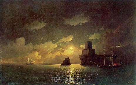 Moonlight Night, 1849 | Aivazovsky | Painting Reproduction
