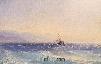 Aivazovsky | A Steamship off the Coast, 1882