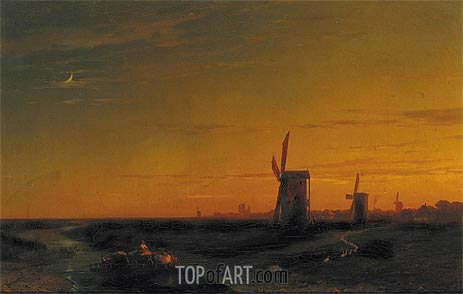 Landscape with Windmills, 1860 | Aivazovsky | Painting Reproduction
