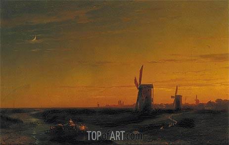 Aivazovsky | Landscape with Windmills, 1860