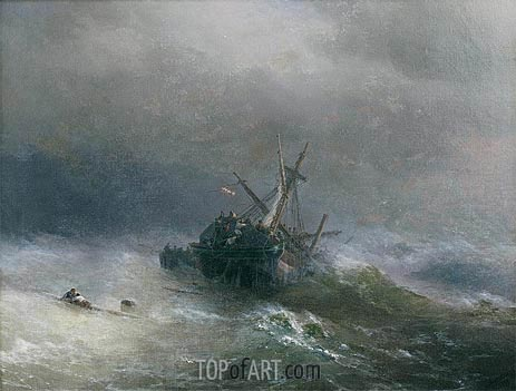 Lowering the Boats, 1878 | Aivazovsky | Gemälde Reproduktion