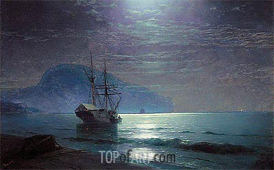 Moonlight in Ayu Dag, Crimea, 1898 | Aivazovsky| Painting Reproduction