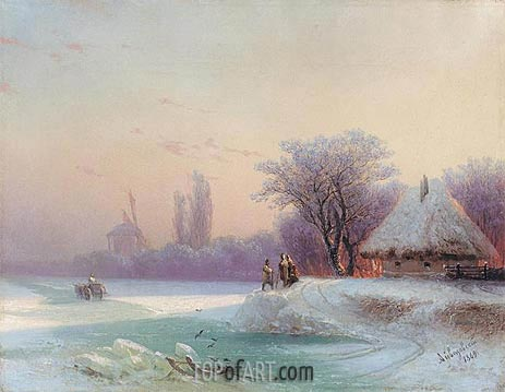 Perils of Winter Travel in the Russian Provinces, 1869 | Aivazovsky | Painting Reproduction
