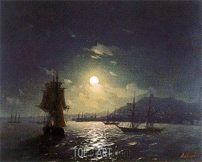 Shipping by a Moonlit Coast, Undated | Aivazovsky| Gemälde Reproduktion