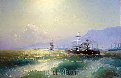 Gunboat off Crete, 1897 | Aivazovsky | Painting Reproduction