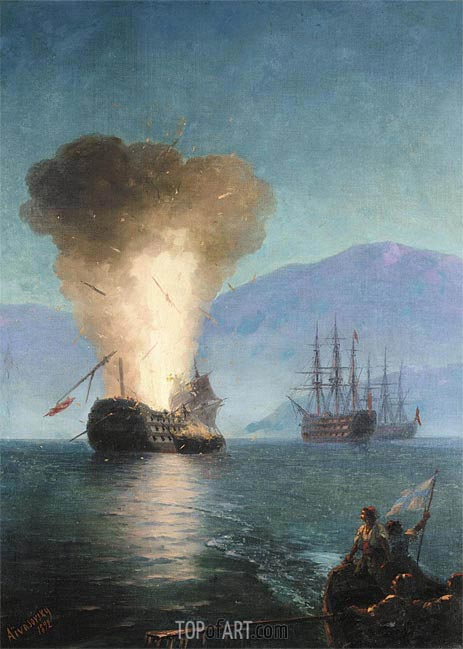 The Firing of the Turkish Fleet by Kanaris in 1822, 1892 | Aivazovsky | Gemälde Reproduktion