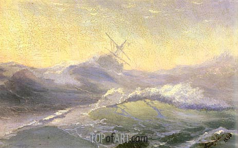 Bracing the Waves, 1890 | Aivazovsky | Painting Reproduction