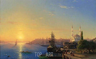 View of Constantinople and the Bosphorus, 1856 | Aivazovsky| Gemälde Reproduktion