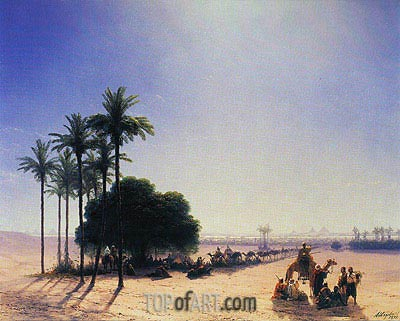 Caravan before the Pyramids, 1871 | Aivazovsky | Painting Reproduction