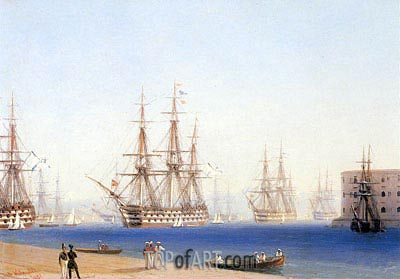 The Black Sea Fleet Entering the Harbour at Sevastopol, 1852 | Aivazovsky| Painting Reproduction