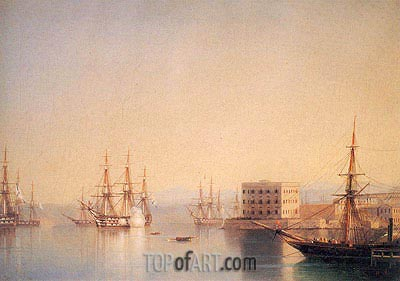 The Entrance to the Harbour at Sevastopol, 1852 | Aivazovsky | Painting Reproduction