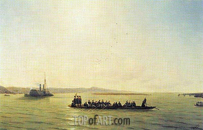 Alexander II Crossing the Danube, 1878 | Aivazovsky| Painting Reproduction