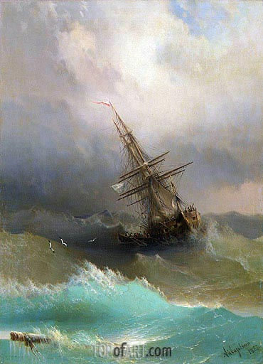A Ship in the Stormy Sea, 1887 | Aivazovsky| Painting Reproduction