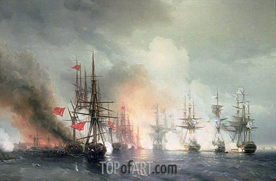 Russian-Turkish Sea Battle of Sinop on 18th November 1853, 1853 | Aivazovsky | Gemälde Reproduktion