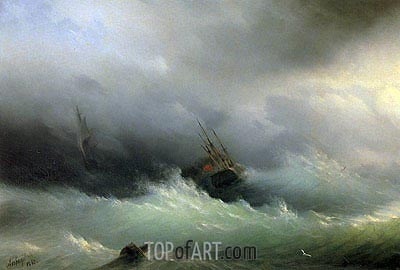 Ships in a Storm, 1860 | Aivazovsky | Painting Reproduction