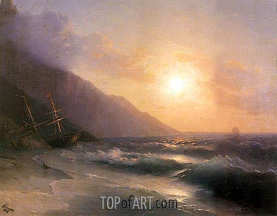 Shipwreck at Sunset, 1878 | Aivazovsky| Painting Reproduction