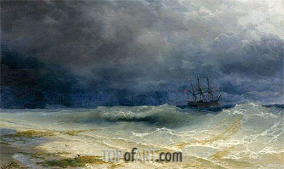 Aivazovsky | Ship in a Stormy Sea off the Coast, 1895