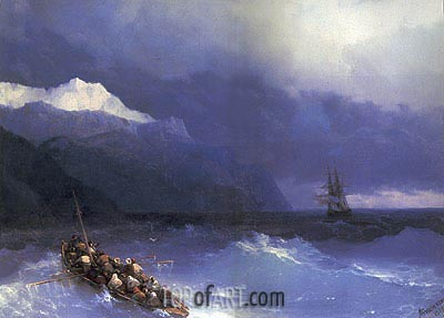 Rescue at Sea off a Mountainous Coast, 1868 | Aivazovsky| Gemälde Reproduktion