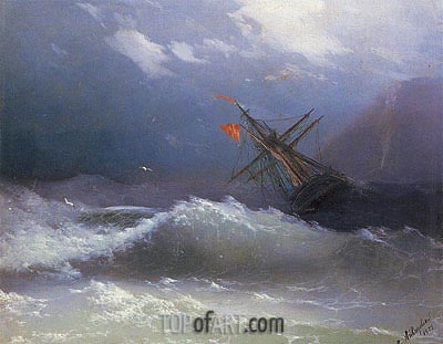 Ship in a Stormy Sea, 1858 | Aivazovsky| Painting Reproduction