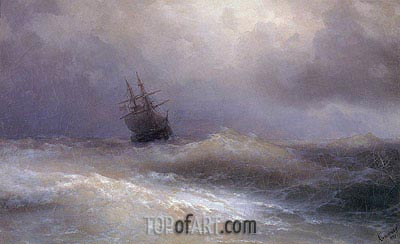 Ship in a Stormy Sea, 1887 | Aivazovsky | Gemälde Reproduktion