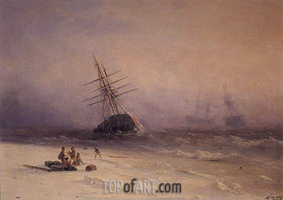 Shipwreck on the Black Sea, 1875 | Aivazovsky| Painting Reproduction