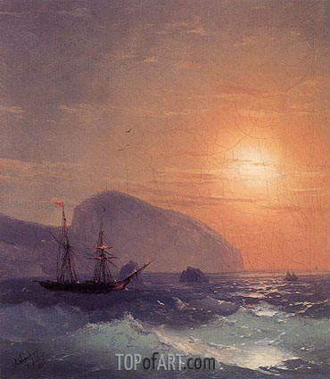 Sunset at Sea off Ayu Dag, Crimea, 1865 | Aivazovsky| Painting Reproduction