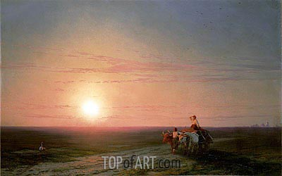 Peasants Returning from the Fields at Sunset, undated | Aivazovsky | Gemälde Reproduktion