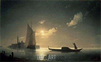 Gondolier at Sea by Night, 1843 | Aivazovsky| Painting Reproduction