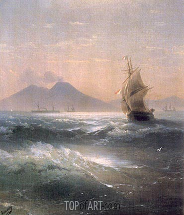 Italian Shipping off Vesuvius, 1879 | Aivazovsky | Painting Reproduction