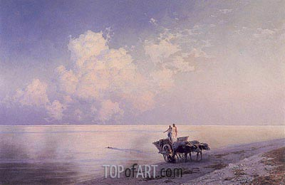 An Ox-drawn Cart by a Tranquil Sea and a Swimmer Beyond, 1886 | Aivazovsky| Gemälde Reproduktion
