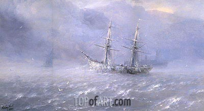 Shipping in a Frozen Stormy Sea, 1886 | Aivazovsky | Painting Reproduction