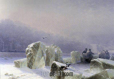 Ice-breakers on the Frozen Neva Lake in St. Petersburg, 1877 | Aivazovsky | Painting Reproduction