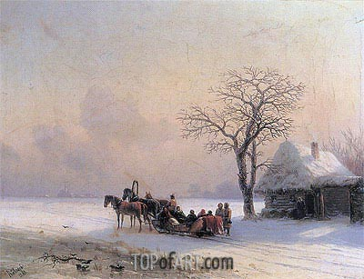 Winter Scene in Little-Russia, 1868 | Aivazovsky| Painting Reproduction