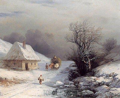 Aivazovsky | Little-Russian Ox Cart in Winter, 1866