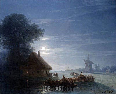Ukrainian Landscape at Night, 1870 | Aivazovsky | Gemälde Reproduktion