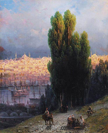 Constantinople, View of the Golden Horn with a Self-Portrait of the Artist Sketching, 1880 | Aivazovsky | Gemälde Reproduktion